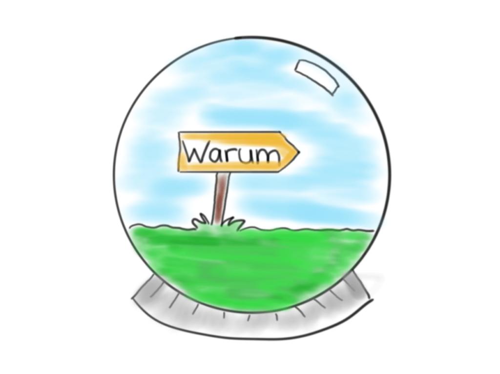 """Achtsam-engagiert.de: Visualisierte Glaskugel mit einem Schild und der Aufschrift """"Warum"""" in der Mitte."""