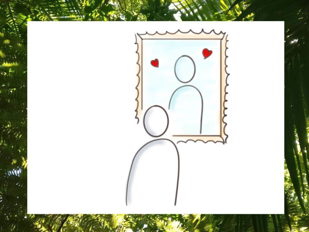 Das Bild zeigt ein stilisiertes Männchen, das sich selbst liebevoll im Spiegel anschaut. Anregung dafür sind die 36Fragen für mehr Selbstliebe und eine Spiegelübung. Visualisert von www.achtsam-engagiert.de