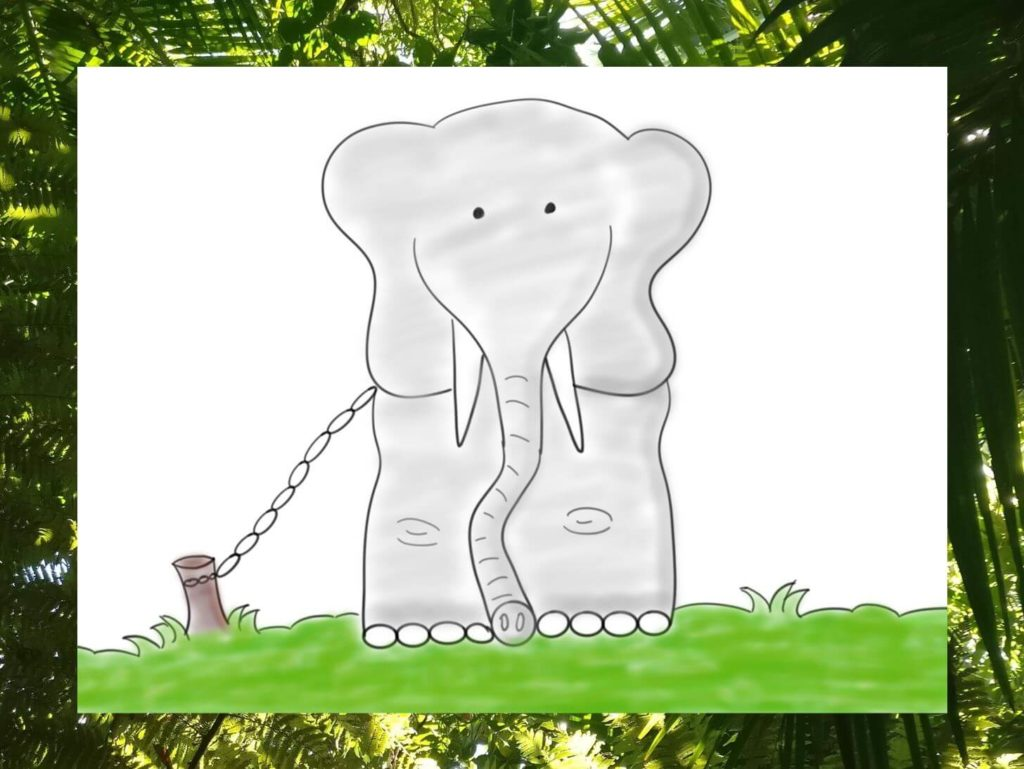 Das Bild zeigt einen Elefanten, der an einem Pflock gekettet ist, visualisiert von www.achtsam-engagiert.de