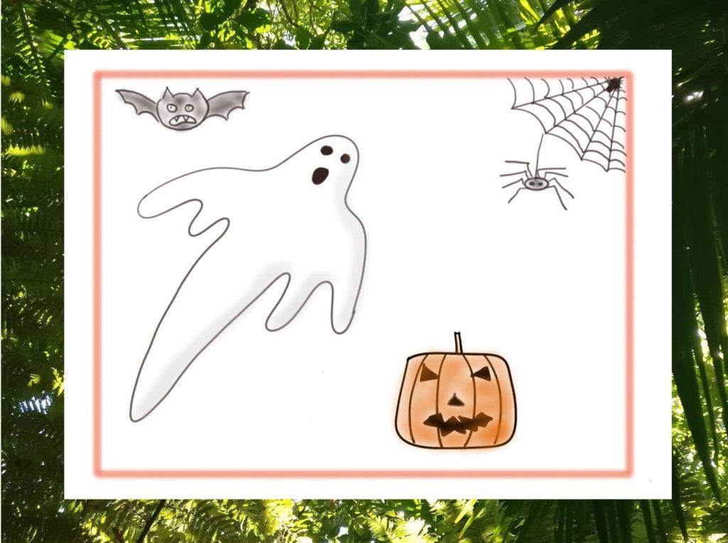 Halloween kann dich einiges über deine Gefühle und Achtsamkeit lehren. Das Bild zeigt typische Halloween-Symbole visualisiert von www.achtsam-engagiert.de