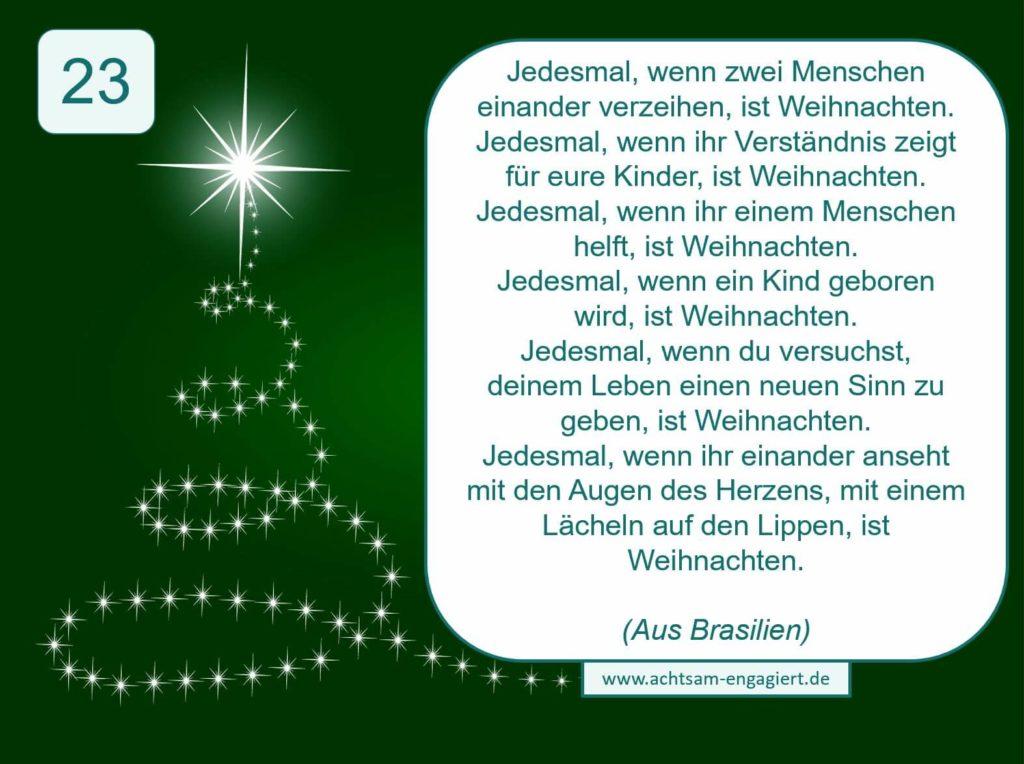 Adventskalender von www.achtsam-engagiert.de Tag 23 für mehr Achtsamkeit, Ruhe und Entspannung.
