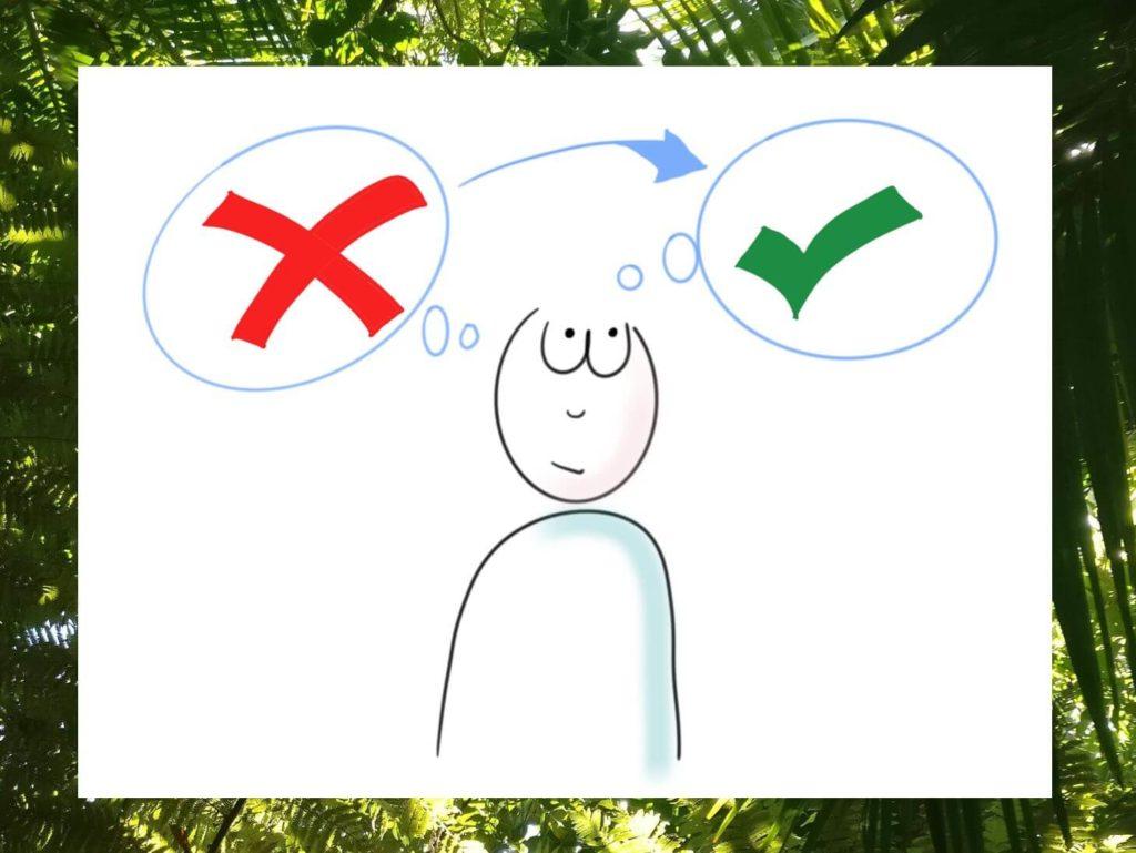 Das Bild zeigt ein visualisiertes Männchen, das zwischen Widerstand und Akzeptanz schwankt. Es visualisiert den Artikel auf www.achtsam-engagiert.de, auf dem du erfährst, wie du akzeptieren lernen kannst.