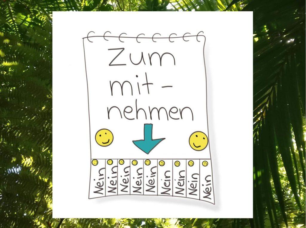 """Das Bild zeigt einen Abrisszettel, auf dem lauter """"Nein"""" stehen - visualisiert von www.achtsam-engagiert.de"""
