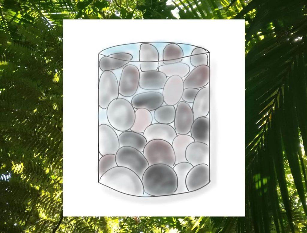 Das Bild zeigt ein mit Steinen gefülltes Glas, welches sinnbildlich für dein Leben steht. Visualisiert von www.achtsam-engagiert.de