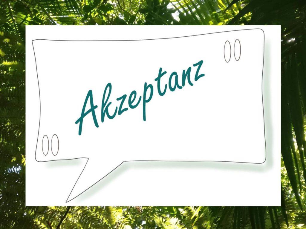 Das Bild zeigt eine Sprechblase und steht symbolisch für Zitate zum Thema Akzeptanz. Visualisiert von www.achtsam-engagiert.de