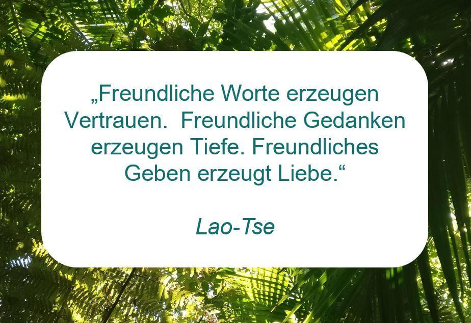 """Zitat der Woche auf www.achtsam-engagiert.de von Lao-Tse: """"Freundliche Worte erzeugen Vertrauen. Freundliche Gedanken erzeugen Tiefe. Freundliches Geben erzeugt Liebe."""""""