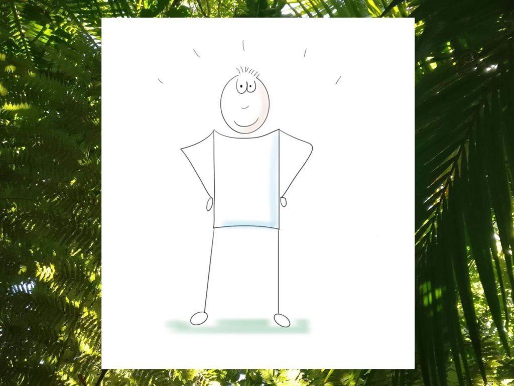 Das Bild zeigt ein stilisiertes Männchen in einer sogenannten Power-Pose, das für Selbstbewusstsein und Selbstvertrauen steht. Visualisiert von achtsam-engagiert.de