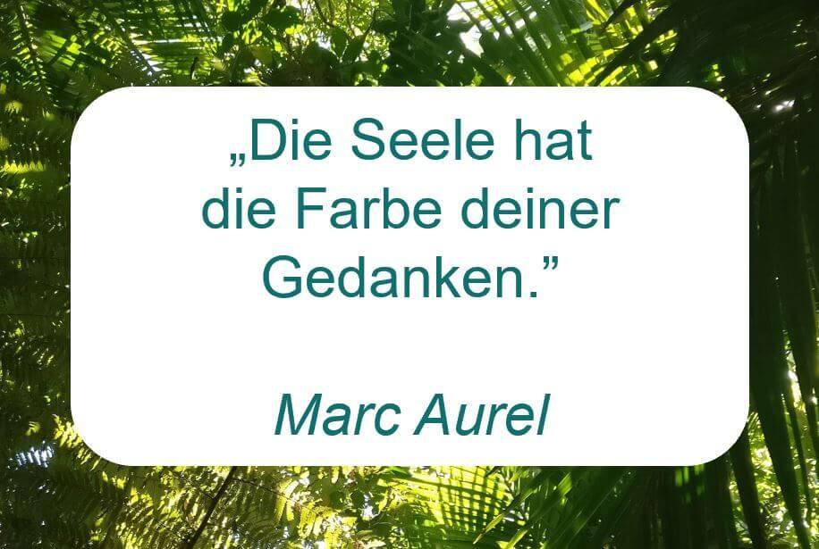 """Zitat der Woche auf www.achtsam-engagiert.de von Marc Aurel """"Die Seele hat die Farbe deiner Gedanken."""""""