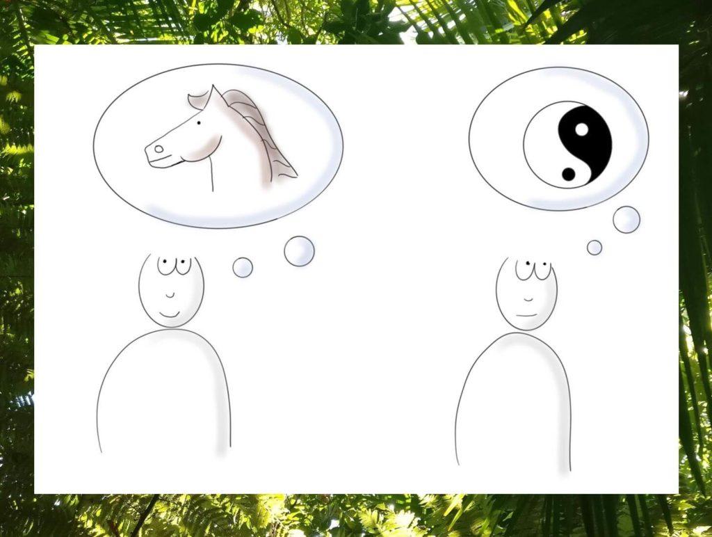 Das Bild zeigt zwei visualisierte Menschen. Eines denkt an ein Pferd und das andere denkt an das Yin und Yang-Symbol. Das Bild steht für die Paralbel vom Glück im Unglück. Visualiert von achtsam-engagiert.de