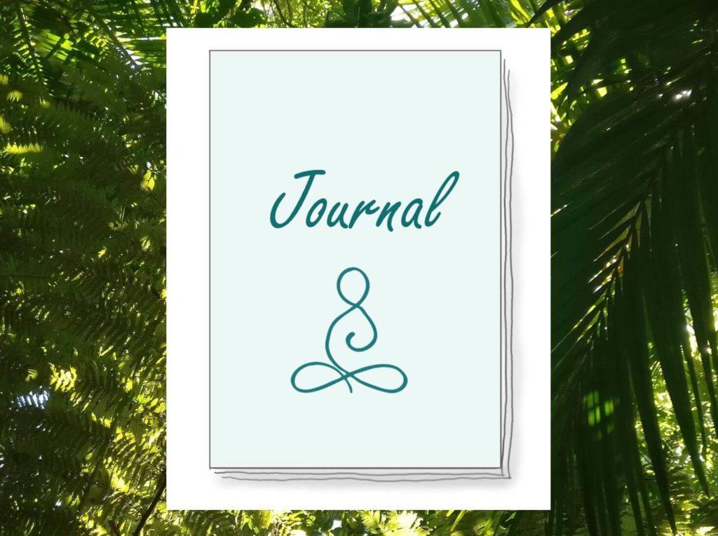 Das Bild zeigt ein visualisiertes Buch, was hier für ein Journal bzw. Tagebuch stehen soll. Es zeigt das Logo von www.achtsam-engagiert.de.