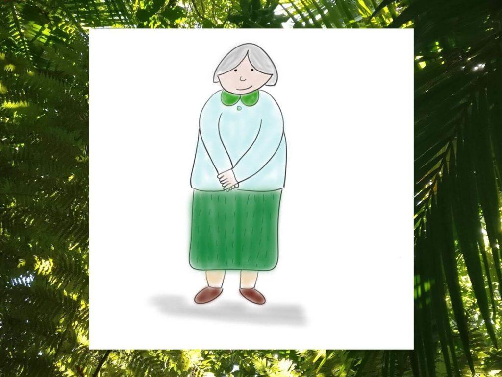 Das Bild zeigt das Sketchnote einer Oma / Rentnerin, welches symbolisch für meine Oma Hermine Schmitz steht - eine bewundernswerte Frau, von der ich hier einige Zitate zusammengefasst habe. Visualisiert von www.achtsam-engagiert.de