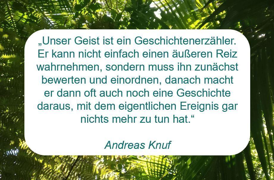 """Zitat der Woche auf www.achtsam-engagiert.de von Andreas Knuf """"""""Unser Geist ist ein Geschichtenerzähler. Er kann nicht einfach einen äußeren Reiz wahrnehmen, sondern muss ihn zunächst bewerten und einordnen, danach macht er dann oft auch noch eine Geschichte daraus, mit dem eigentlichen Ereignis gar nichts mehr zu tun hat."""""""