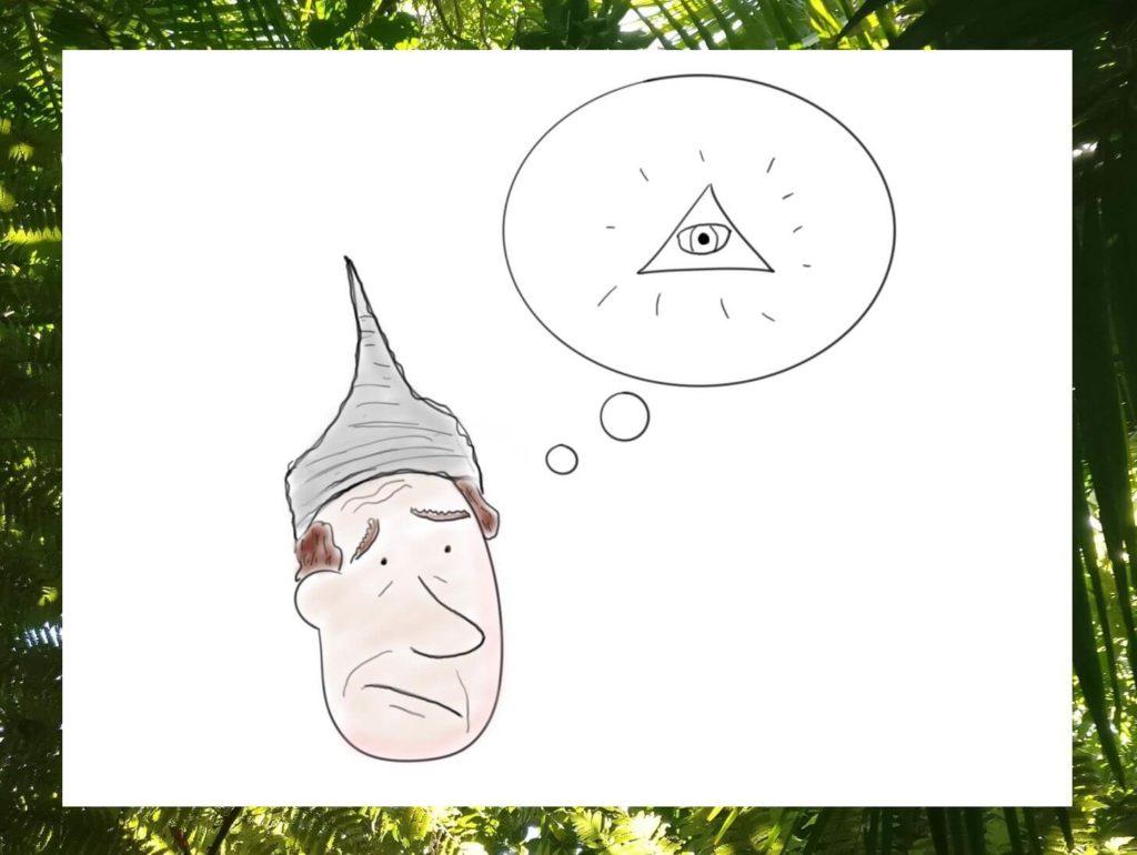 Das Bild zeigt einen Mann mit Alu-Hut als Symbolbild für einen Verschwörungstheoretiker. Visualisiert von www.achtsam-engagiert.de