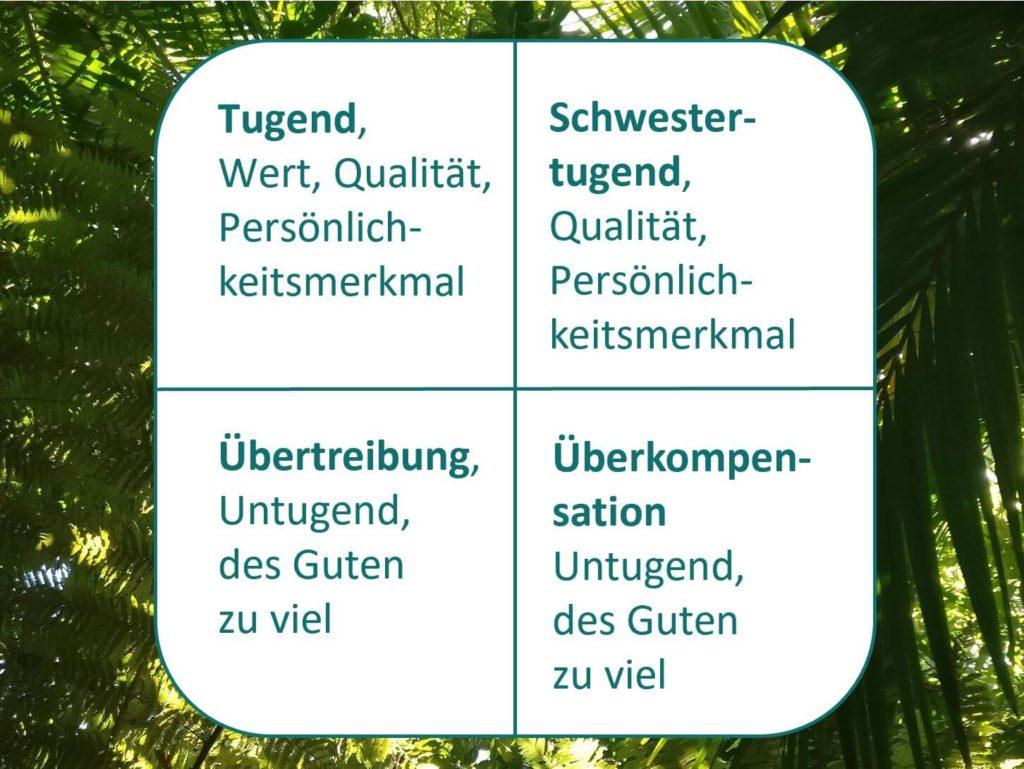 Das Bild zeigt das Werte- und Entwicklungsquadrat nach Friedemann Schulz von Thun, welches ein gutes Feedback-Tool ist. Visualisiert von www.achtsam-engagiert.de