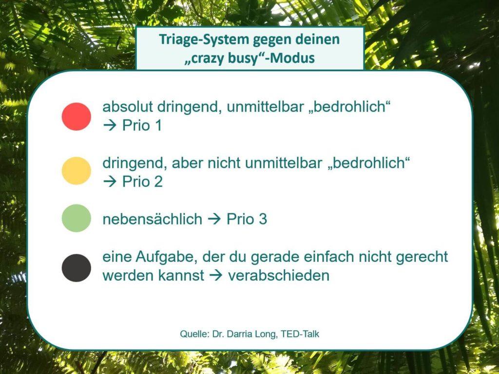 Das Bild zeigt das Triage-System aus Notaufnahmen, was sich ebenso auf alltägliche Stresssituationen anwenden lässt wie Dr. Darria Long in ihrem TED-Talk erklärt. Visualisiert von www.achtsam-engagiert.de