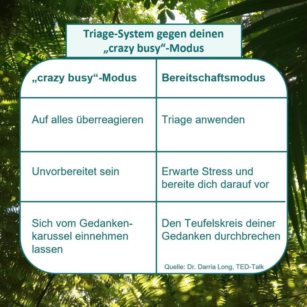 """Diese drei Unterschiede gibt es laut Dr. Darria Long zwischen dem """"crazy busy""""-Modus und dem Bereitschaftmodus. Mit letzterem kannst du Stress sehr viel besser begegnen. Visualisiert von www.achtsam-engagiert.de"""