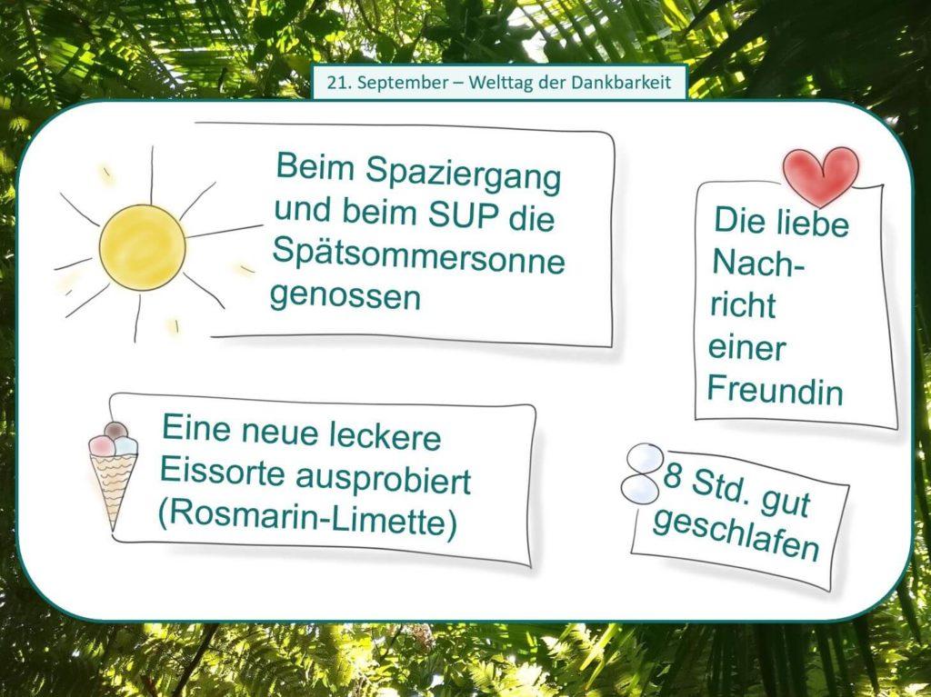 Das Bild zeigt vier Dankbarkeitspunkte anlässlich des Welttages der Dankbarkeit am 21. September. Visualiert von www.achtsam-engagiert.de