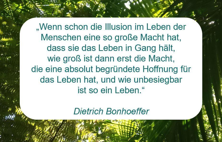 """Zitat der Woche auf www.achtsam-engagiert.de von Dietrich Bonhoeffer: """"Wenn schon die Illusion im Leben der Menschen eine so große Macht hat, dass sie das Leben in Gang hält, wie groß ist dann erst die Macht, die eine absolut begründete Hoffnung für das Leben hat, und wie unbesiegbar ist so ein Leben."""""""