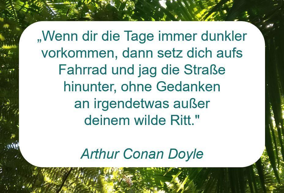 """Zitat der Woche auf www.achtsam-engagiert.de von Arthur Conan Doyle: """"Wenn dir die Tage immer dunkler vorkommen, dann setz dich aufs Fahrrad und jag die Straße hinunter, ohne Gedanken  an irgendetwas außer  deinem wilde Ritt."""""""