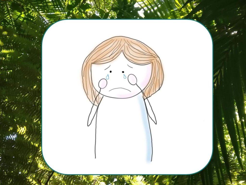 Einsamkeit ist ein Gefühl, das derzeit sehr viele kennen und das weit über Alleinsein hinaus geht. Das Bild zeigt eine weinende Figur. Visualisiert von www.achtsam-engagiert.de