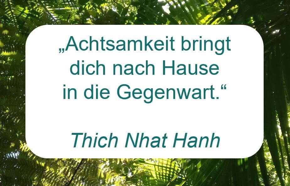 """Zitat der Woche auf www.achtsam-engagiert.de von Thich Nhat Hanh: """"Achtsamkeit bringt dich nach Hause in die Gegenwart."""""""