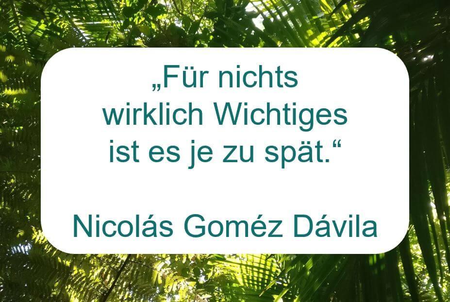 """Zitat der Woche auf www.achtsam-engagiert.de von Nicolás Goméz Dávila: """"Für nichts  wirklich Wichtiges ist es je zu spät."""""""