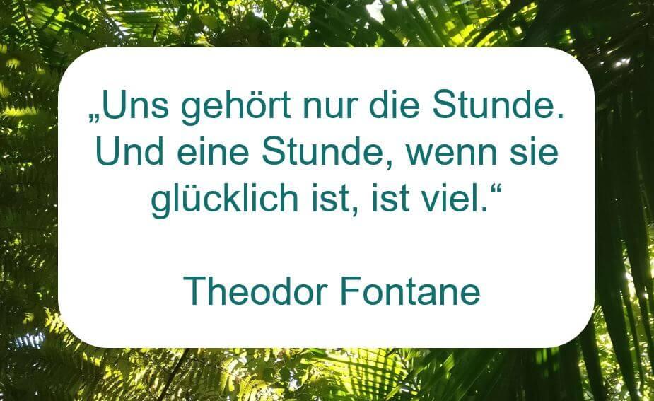 """Zitat der Woche auf www.achtsam-engagiert.de von Theodor Fontane: """"Uns gehört nur die Stunde. Und eine Stunde, wenn sie glücklich ist, ist viel."""""""