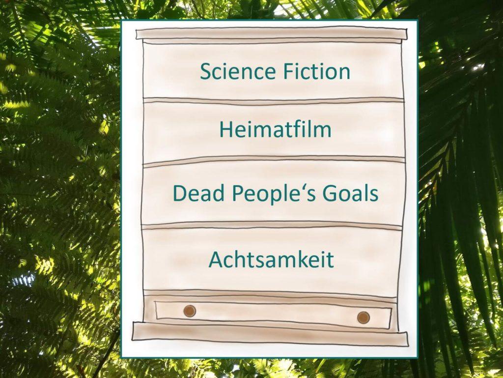 Das Bild zeigt eine Kommode mit vier Schubladen, die die Kategorien für die Gedankenmeditation zeigen: Science Fiction, Heimatfilm, Dead People's Goals und Achtsamkeit. Visualisert von www.achtsam-engagiert.de
