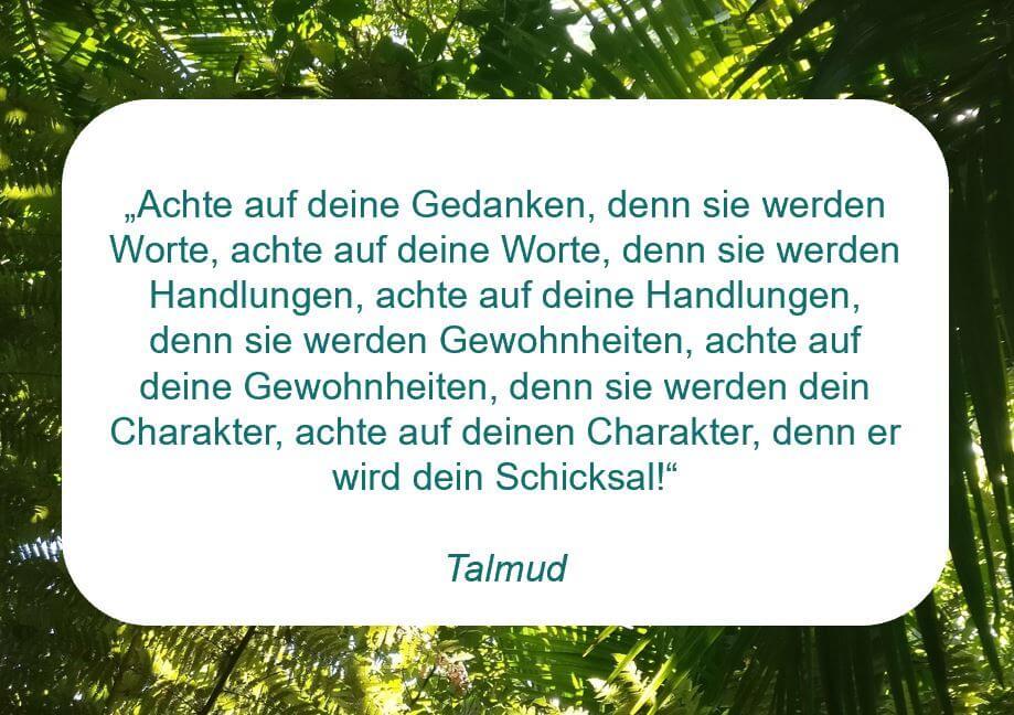 """Zitat der Woche auf www.achtsam-engagiert.de aus dem Talmud: """"Achte auf deine Gedanken, denn sie werden Worte, achte auf deine Worte, denn sie werden Handlungen, achte auf deine Handlungen, denn sie werden Gewohnheiten, achte auf deine Gewohnheiten, denn sie werden dein Charakter, achte auf deinen Charakter, denn er wird dein Schicksal!"""""""