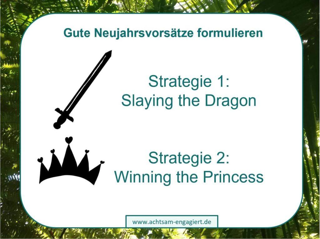Das Bild zeigt die zwei Strategien auf, wie man die Motivation für Veränderung wie Neujahrsvorsätze erzeugt: Slaying the Dragon und Winning the Princess. Visualisiert von www.achtsam-engagiert.de