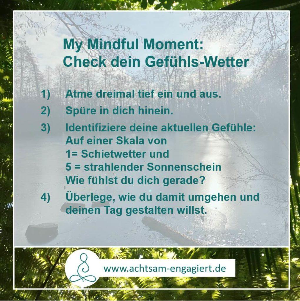 My Mindful Moment: Check mit diesen vier Schritten dein Gefühlswetter, um mit einer guten Prognose in deinen Tag zu starten - visualisiert von www.achtsam-engagiert.de