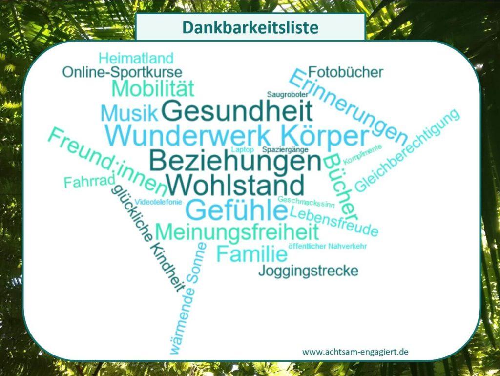 Das Bild zeigt eine Dankbarkeitsliste / Dankbarkeitswolke mit vielen Aspekten des Lebens, für die es sich lohnt, dankbar zu sein. Visualisiert von www.achtsam-engagiert.de